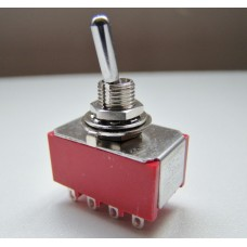 SW22 4PDT Four Pole Miniature Flick Toggle Switch, Double Throw Panel Mount, On-On