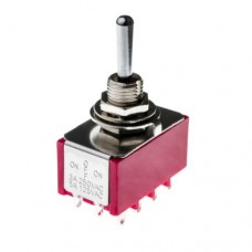 SW24 4PDT Four Pole Miniature Flick Toggle Switch, Double Throw Panel Mount, On-Off-On